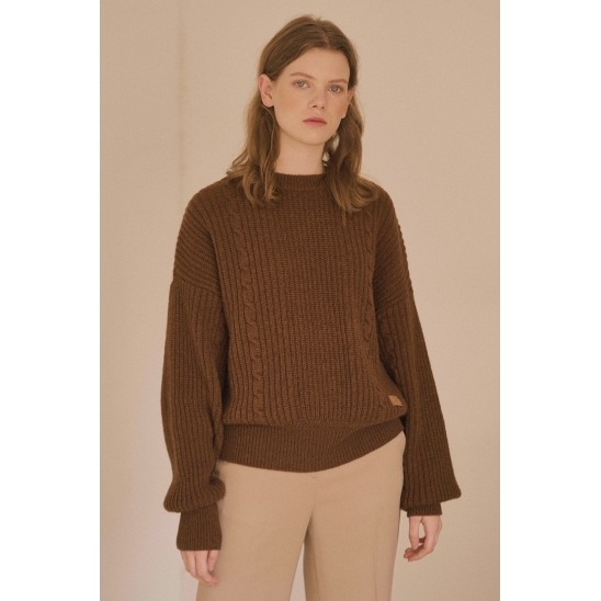 VERONICA CABLE KNIT (SIGNATURE) (BROWN)