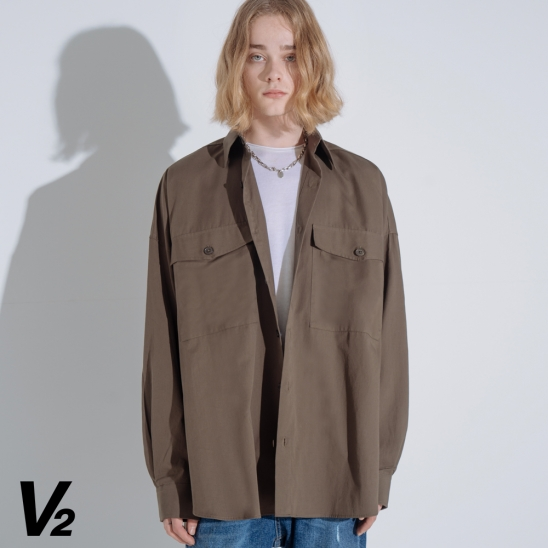 OVERFIT RAY POCKET SHIRT_KHAKI
