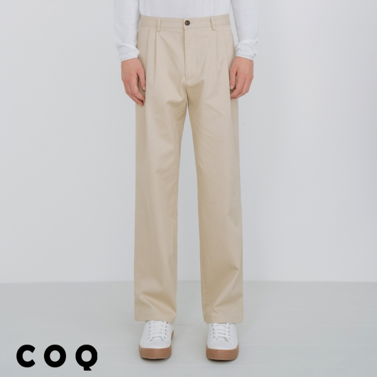 CHINO COTTON WIDE PANTS_BEIGE