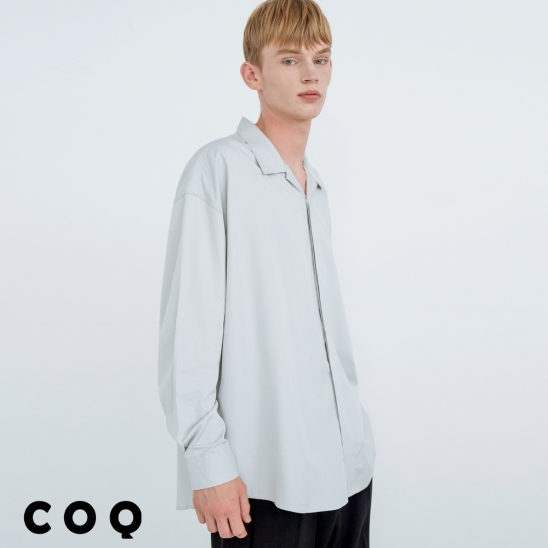 OPEN COLLAR HIDDEN SHIRT_BLUE GREY