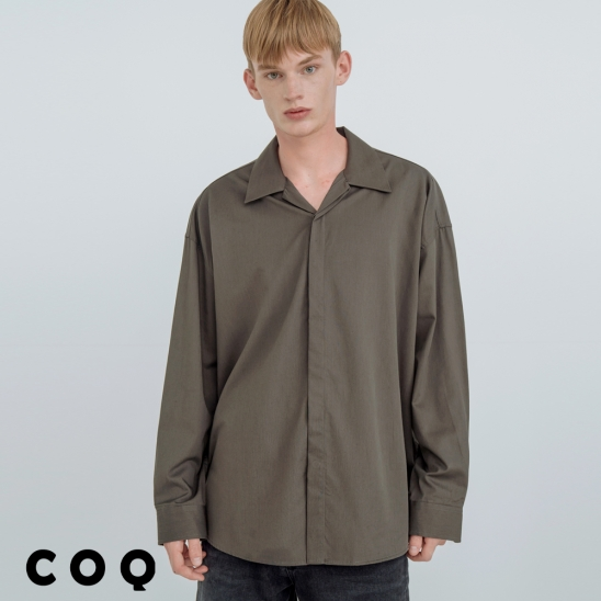 OPEN COLLAR HIDDEN SHIRT_CHARCOAL