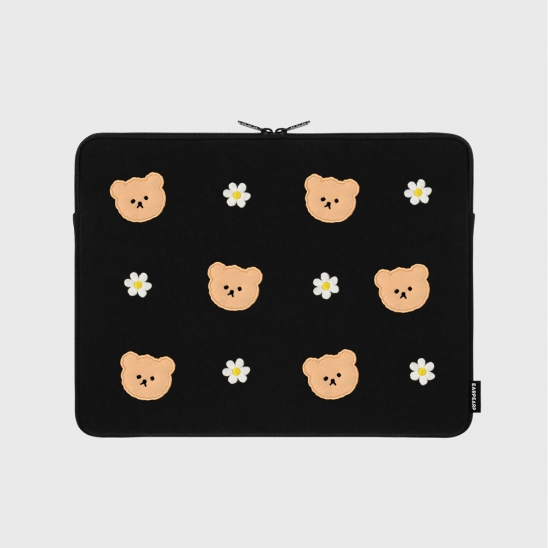 Dot flower bear-black-13inch notebook pouch(13인치 노트북파우치)