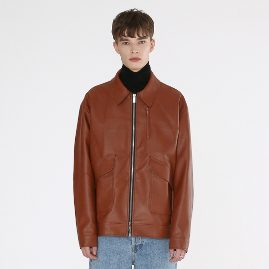Wes- leather jacket (brown)