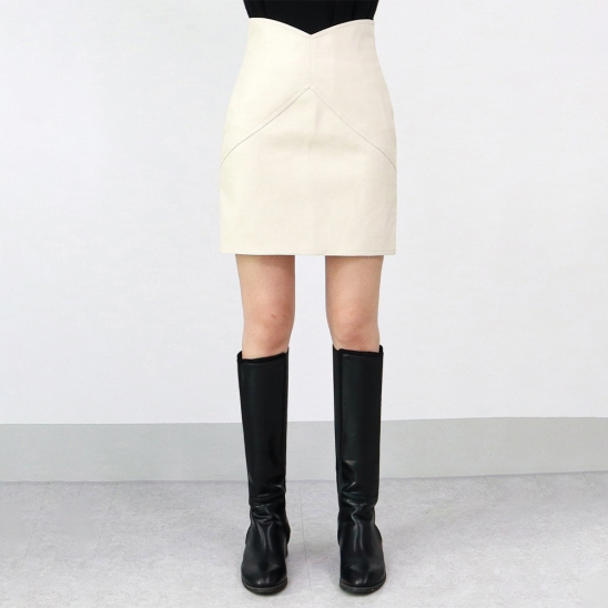 Wave leather skirt - ivory