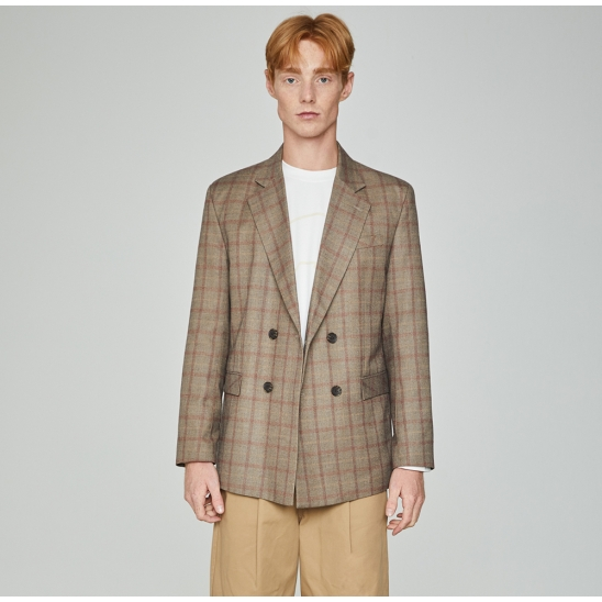 Lazy Check Double Jacket Beige