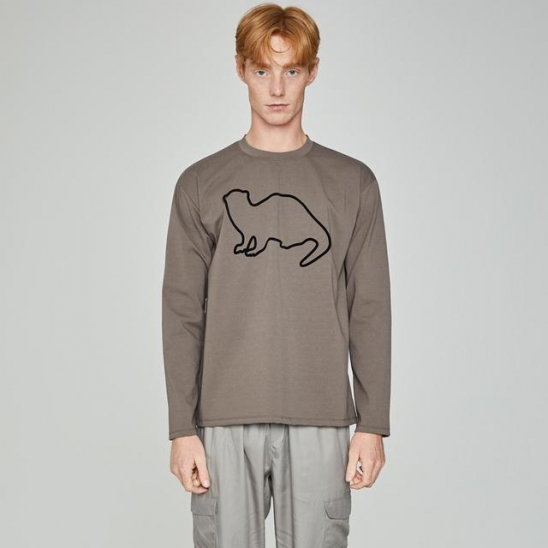 Lazyotter Drawing Long Sleeve Brown