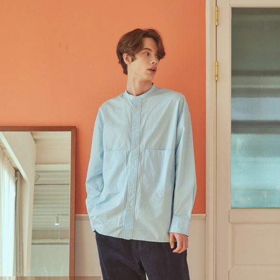 FW20 COZY 2-POCKET STAN COLLAR SHIRT(LONG)_SKY BLUE