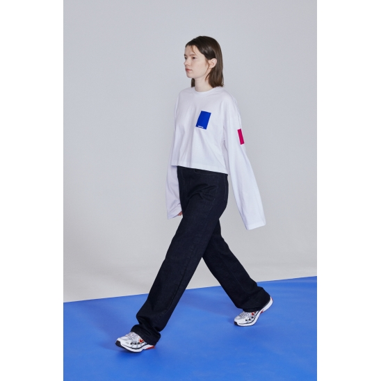 SMALL SWITCH CROP LONG SLEEVED T-SHIRT _ WHITE