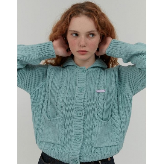 TWIST KNIT COLLAR CROP CARDIGAN_MINT