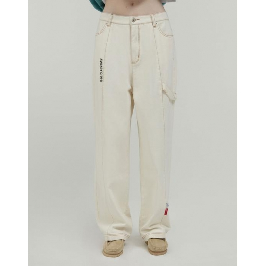 LABEL POINT DENIM PANTS_IVORY