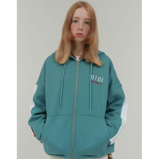 AUTHENTIC LOGO HOOD ZIPUP_BLUE GREEN