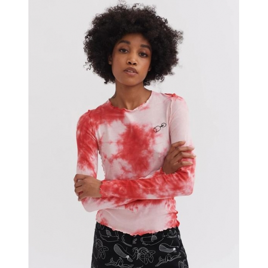 SPILLED WINE TIE DYE TOP WHITE/RED