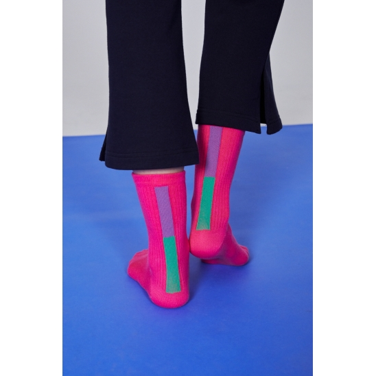 BAR COLOR POINT CREW SOCKS _ PINK