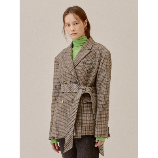 OVER SHOULDER CHECK PADDED LINING COAT_GREY (EETZ4CTR01W)