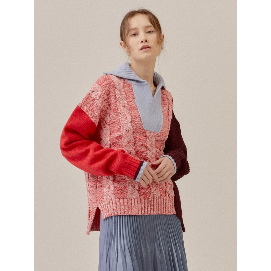 COLOR COMBINATION CABLE WOOL-BLENDED KNIT TOP_RED (EETZ4NTR06W)