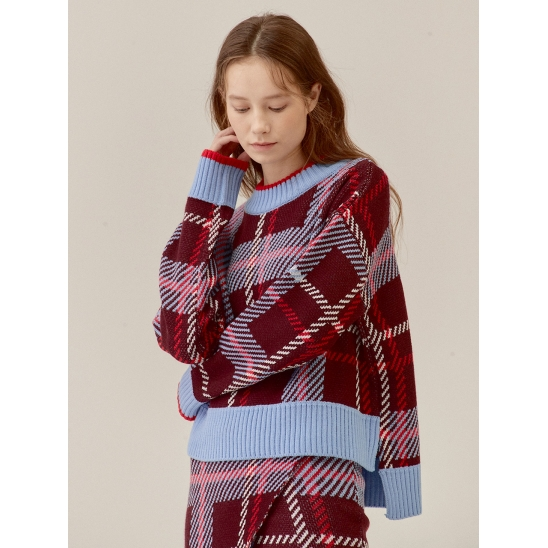 CHECKED SIDE VENT WOOL-BLENDED KNIT TOP_BURGUNDY (EETZ4NTR04W)