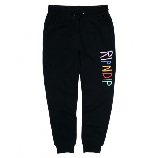 RIPNDIP Multi Color Logo Sweat Pants - Black