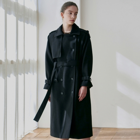 SOFT WOOL DOUBLE TRENCH COAT_BLACK
