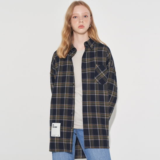 OVERFIT LOGO CHECK SHIRT_NAVY