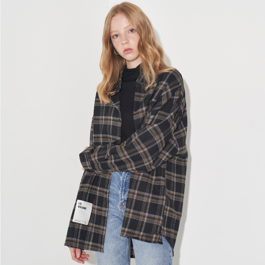 OVERFIT LOGO CHECK SHIRT_BLACK