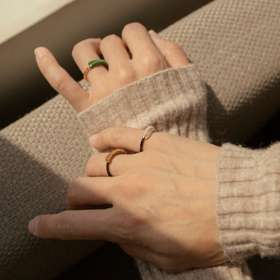 Knit banded surgical steel simple ring