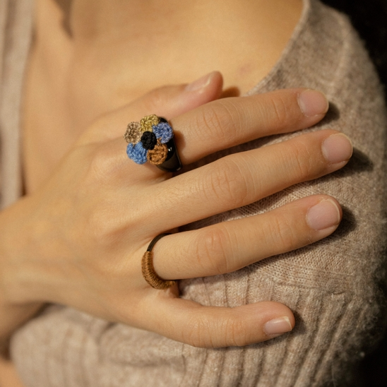 Color of time knit flower ring