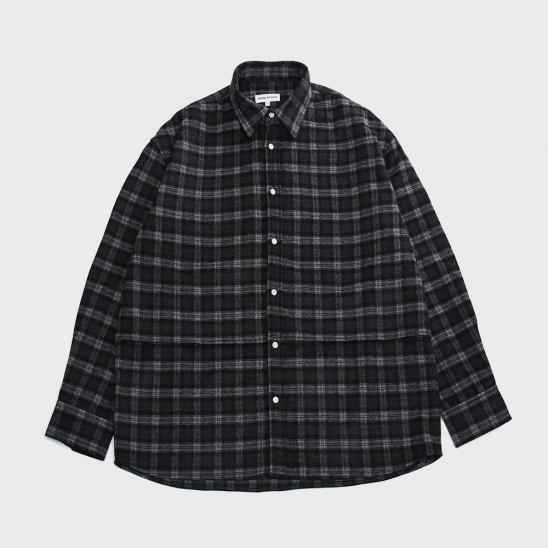FW20 DAILY FIT FLAP SHIRT(LONG)_CHECK(BLACK)