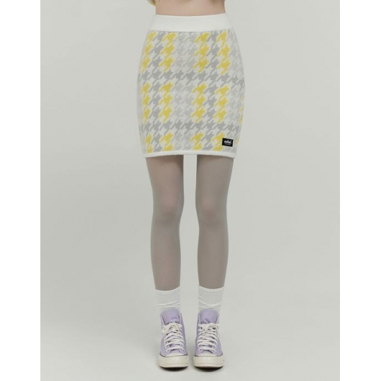 CHECK BOUCLE KNIT SKIRT_YELLOW