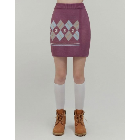 ARGYLE KNIT WRAP SKIRT_PURPLE