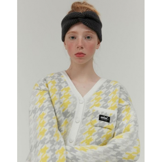 CHECK BOUCLE KNIT CROP CARDIGAN_YELLOW