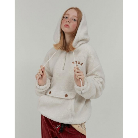 FAKE FUR LOGO ANORAK_CREAM