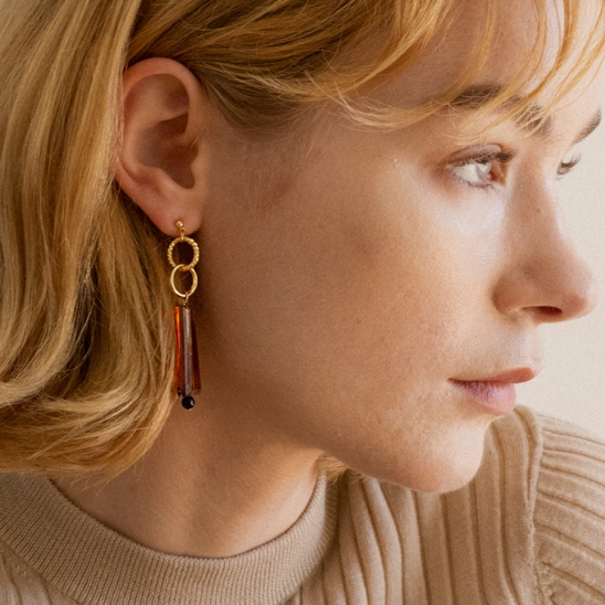 Double ring and espresso point earring