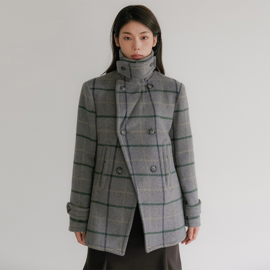 FLU PEA COAT CHECK GREY