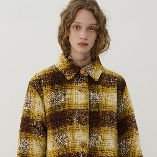 R OVERSIZE CHECK JACKET_YELLOW