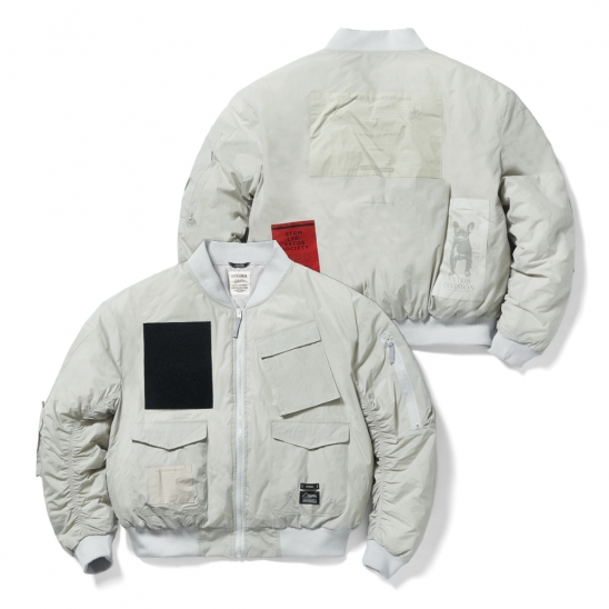 DV TECH OVERSIZED PADDING MA-1 JACKET GREY