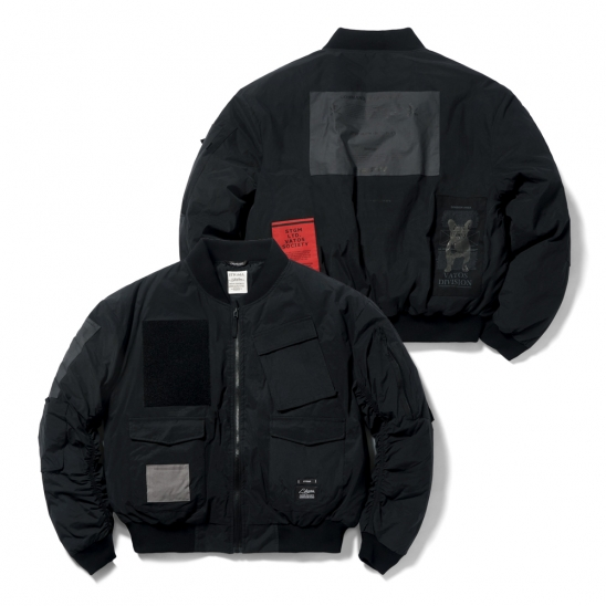 DV TECH OVERSIZED PADDING MA-1 JACKET BLACK