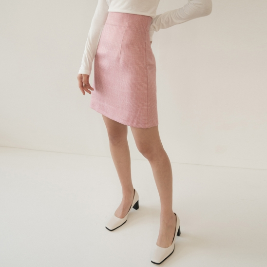FOR TWEED MINI SKIRT PINK