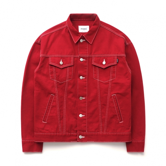 ND Cotton Oversize Stitch Trucker JK (Red)