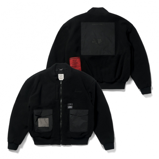 BLEND OVERSIZED FLEECE MA-1 JACKET BLACK