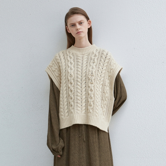 cable wool knit vest - ivory