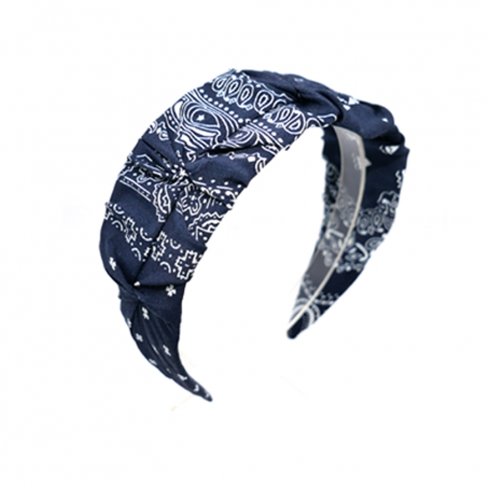 bandana shirring hairband (navy)