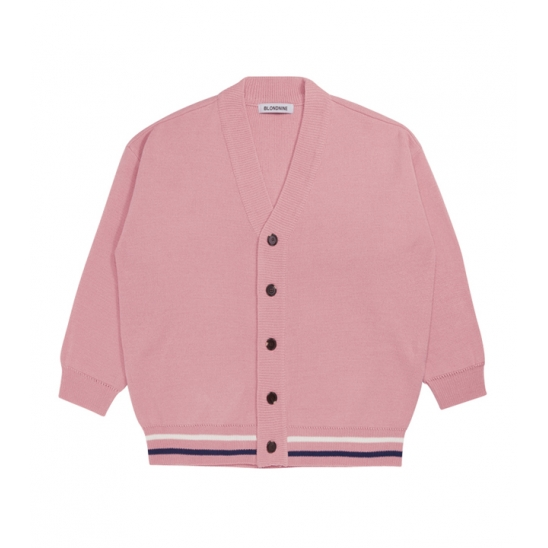 Two Lines Color Knit Cardigan_PINK