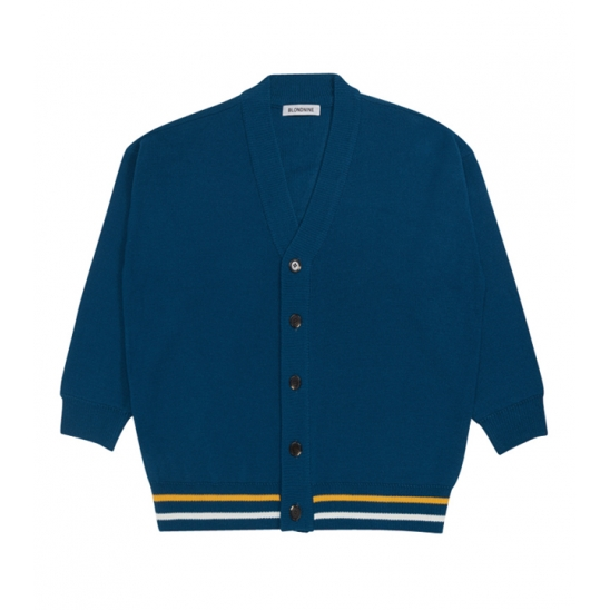 Two Lines Color Knit Cardigan_BLUE