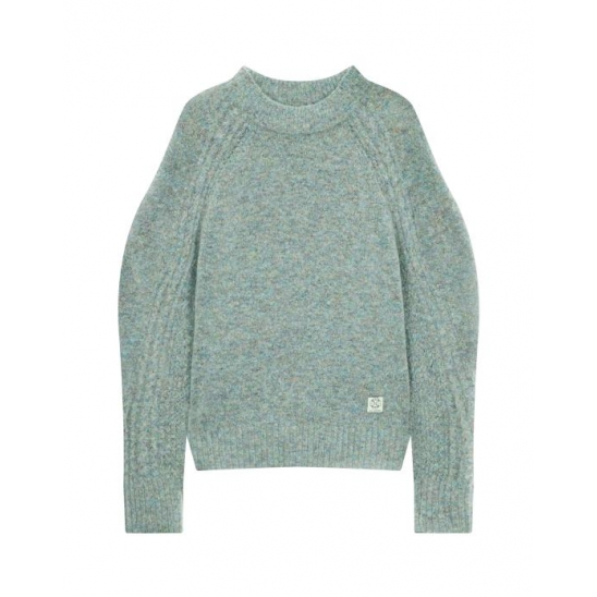 CABLE SLEEVE WOOL KNIT-PULLOVER LIGHT GREY