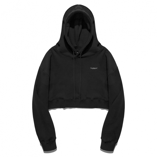 YK SIMPLE LOGO CROP HOOD-BLACK