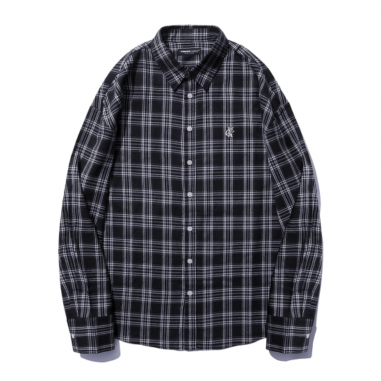 YK SIGNATURE OVER SHIRTS-NAVY CHECK
