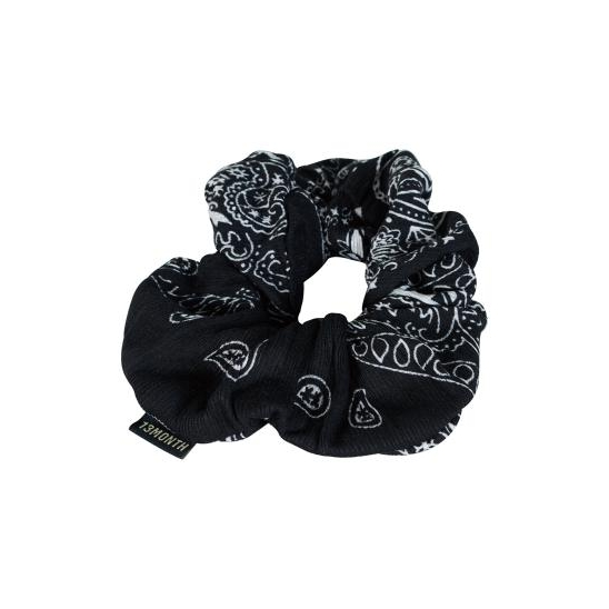 PATTERNED SHIRRING HAIR BAND (BLACK)