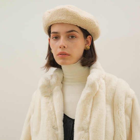 Shearling Beret - Cream
