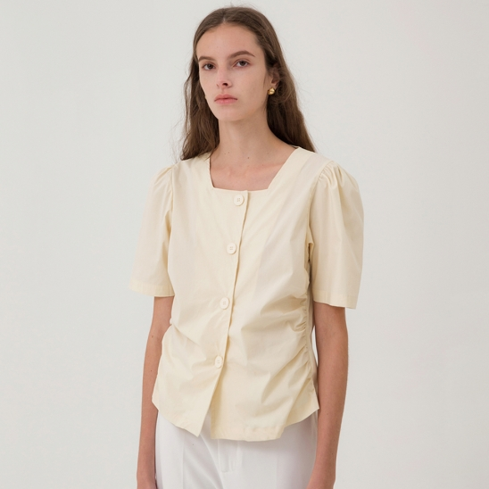 [2th Re-stock] Square Neck Shirring Blouse - Yellow