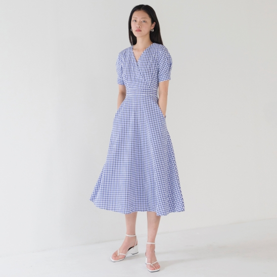 Wrap Flared Dress - Blue
